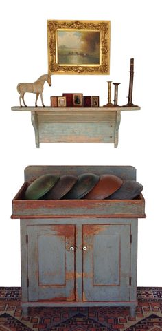 Early 19th century Beautiful Pennsylvania Drysink with a collection of wooden bowls