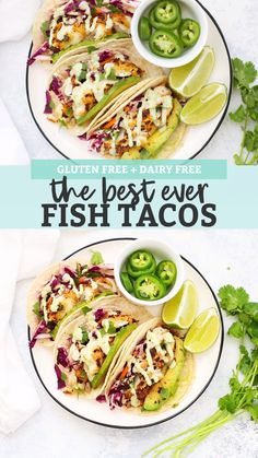 Gluten Free Fish Tacos with Honey Lime Cilantro Slaw - The BEST fish taco recipe! Perfectly cooked fish with an easy cabbage slaw that makes these taste amazing. (Don't skip the avocados and tomatillo ranch! Slaw For Fish Tacos, Fish Tacos With Cabbage, Healthy Fish Tacos, Easy Fish Tacos, Halibut Fish Tacos, Mexican Fish Tacos, Tuna Tacos, Spicy Fish Tacos, Grilled Fish Tacos