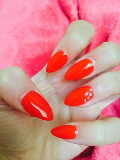 September stiletto red acrylic nails