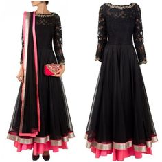 Black Floral Lace Embroidered Anarkali Suit - Google Search