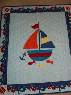 """44"""" x 35"""" handmade baby quilt in Boats & Whales - $17.00 on eBay"""