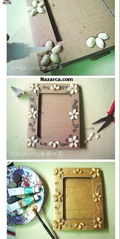 DIY ~ Pistachios Shells Picture Frame More (Diy Photo Frames) Frame Crafts, Fun Crafts, Diy And Crafts, Crafts For Kids, Art N Craft, Diy Art, Diy Projects To Try, Craft Projects, Craft Ideas