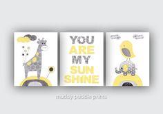 Yellow Grey Nursery decor, Nursery print, Nursery art, Yellow, Grey, Elephant, Giraffe, Birds - You are my sunshine in yellow and grey on Etsy, $33.00