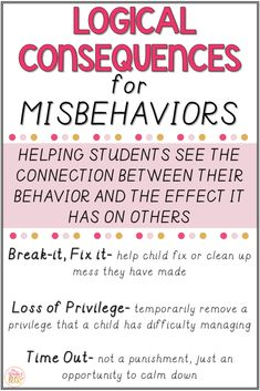 Looking for classroom management ideas for elementary students? The book Teaching Self Discipline from Responsive Classroom has outlined logical consequences when dealing with student misbehaviors. The book has great strategies and examples to help teachers effectively respond to misbehavior effectively. #classroommanagement #SEL #studentdiscipline #behaviorconsequences