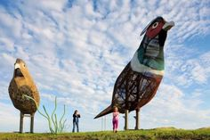 Enchanted Highway: Turn off I-94 at Exit 72 (90 miles west of Bismarck) to find seven enormous sculptures along a 32-mile ribbon of rural highway. The massive artworks are the quixotic tourism initiative of retired educator Gary Greff, who established Enchanted Highway to bring more travelers to his tiny hometown of Regent. (701) 563-6400; ndtourism.com