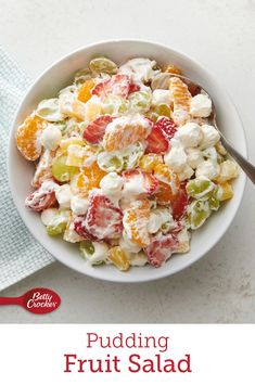 Betty's own unique take on the classic ambrosia fruit salad cleverly combines refrigerated vanilla pudding, miniature marshmallows and frozen whipped topping with fresh and canned fruit. It's a desserty salad sensation. Fruit Salad With Pudding, Fruit Salad Recipes, Fruit Salads, Jello Salads, Fruit Fruit, Dressing For Fruit Salad, Whipped Topping, Whipped Cream, Great Recipes