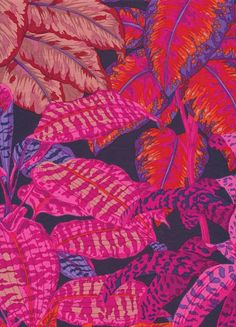 Kaffe Fassett Leaves Miami Magenta Fabric 3/4 Yard Last In Stock