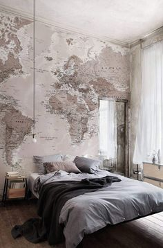 Grey bedroom and awesome world map wallpaper