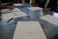 23 juni:  B en W tekenen zichzelf onder begeleiding van leerlingen van praktijkschool Stad en Esch