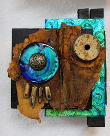 Blue Spirit, assemblage by Carol Nelson        This is another in my Assemblage Series featuring mini wall sculptures created with found a...