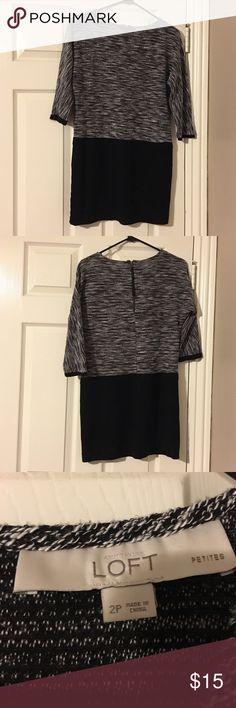 Ann Taylor Loft dress!!! Ann Taylor Loft Sz 2P Black White 3/4 sleeve dress!!! LOFT Dresses