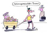 Altersgemischtes Team - ein Cartoon von Renate Alf