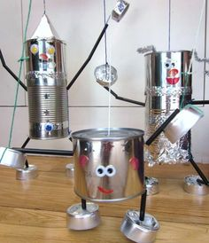tin can marionettes Adventures at Home: How to make a Tin Man (and a Tin Lady and a Tin Baby) Kids Crafts, Tin Can Crafts, Projects For Kids, Diy For Kids, Robot Crafts, Recycled Tin Cans, Recycled Crafts, Repurposed, Recycled Tires