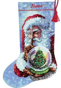 Cross Stitch Christmas Stockings, Cross Stitch Stocking, Christmas Cross, Needlepoint Christmas Stocking Kits, Santa Snow Globe, Dimensions Cross Stitch, Personalized Stockings, Counted Cross Stitch Kits, Potpourri