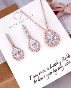 Rose Gold Teardrop Earrings, Bracelet and Necklace made with AAA cubic zirconia. Wedding jewelry for brides and bridesmaids. Simple and elegant. Wedding Jewelry For Bride, Wedding Earrings, Bridal Jewelry, Bridesmaid Earrings, Jewelry Sets, Fine Jewelry, Jewellery, Gold Jewelry, Simple Jewelry