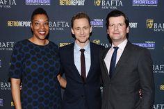 "Julie La'Bassiere, BAFTA New York CEO, Tom Hiddleston, Luke Parker Bowles, BAFTA New York Chairman, attend BAFTA New York With Tribeca Shortlist Hosts ""In Conversation With Tom Hiddleston""  (Photo by Nicholas Hunt/G   BAFTA"