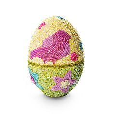 $35 - 2 options Collectible Beaded Easter Egg, Yellow & Green