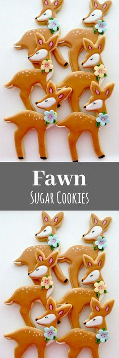 12 Fawn Sugar Cookies baby shower deer woodland animals birthday favor #affiliate