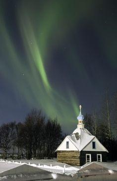 Russian Orthodox Church, Kenai, AK  with Northern Lights.