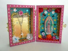 Our Lady of Guadalupe mini altar. Home Altar, Cross Art, Altar Decorations, Wall Drawing, Mexican Folk Art, Religious Art, Our Lady, Altered Art, All Souls Day