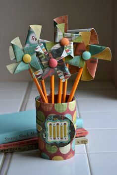 Pinwheel Pencil Jar--perfect for spring or May Day Crafts For Kids, Arts And Crafts, Paper Crafts, Diy Crafts, Pen Toppers, Great Teacher Gifts, Teacher Stuff, Back To School Gifts, School Stuff