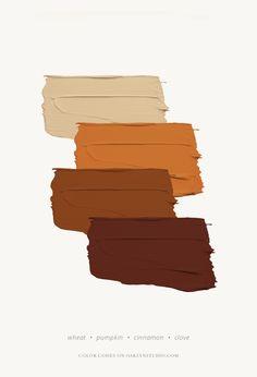 This color harmony would make for an amazing nook space. Paint Color Schemes, Colour Pallette, Color Combos, Vintage Color Schemes, Brown Color Schemes, Interior Color Schemes, Fall Color Palette, Paint Colors, Villa Vanilla