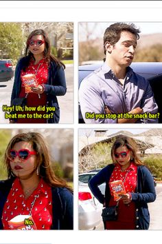 "Mindy & Danny ""Did you stop at the snack bar?"" ""No..."" Haha love The Mindy project!"