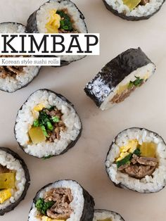 Kimbap is Korean style sushi. Instead of sushi there is marinated beef, pickled radish, marinated spinach, and strips of egg omelete. Sushi Recipes, Asian Recipes, Cooking Recipes, Ethnic Recipes, Korean Dishes, Korean Food, Beef Sushi, Kimbap, Brit