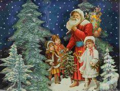 Vintage Santas, Christmas Art, Old World, Ephemera, Victorian, Painting, Father Christmas, Noel, Painting Art