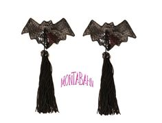 Burlesque Pasties VAMPIRE BAT Black Sequin Nipple by Montabahn, $36.00