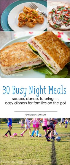 30 Nights of EASY dinners for busy families. Feel like you're always on the go with soccer, dance, tutoring, piano, church, and other kid activities?? Get food to the table fast with these family-friendly recipes!