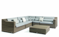 Manutti // Wicker sofa with waterproof cushions. Natural materials and tones add to the collection's ageless appeal - San Diego Collection Outdoor Sofa Sets, Outdoor Furniture, Outdoor Decor, Waterproof Cushions, Wicker Sofa, Modular Sofa, Luxury Living, Sofa Design, Natural Materials
