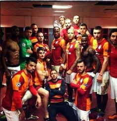Galatasaray squeeze their way into the champions league and every member of the team poses like a boss right after the win