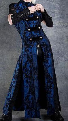 'Hellraiser Coat - Cobalt Blue Tapestry by Shrine Clothing Goth Mens Jackets.