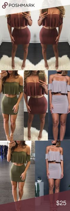 Two pieces please Off the shoulder two piece crop top and mini skirt set. Other