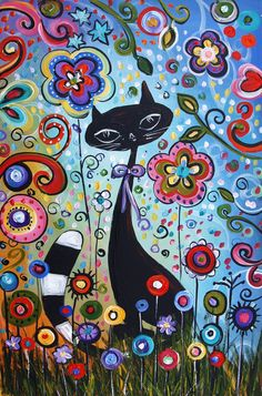 original painting abstract painting naive cat by jolinaanthony