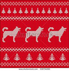 Christmas and Siberian Husky. Knitted Christmas Stockings, Christmas Knitting, Husky, Knitting Patterns, Diy And Crafts, Kids Rugs, Punto De Cruz, Dots, Patterns