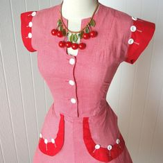 Your place to buy and sell all things handmade African Traditional Wedding Dress, Red Gingham, 1940s Dresses, Maid, All Things, Short Sleeve Dresses, Handmade, Stuff To Buy, Etsy