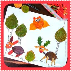 Unique autumn clip art set of googly-eyed whimsical animals, made with real leaves from my garden. Autumn Leaves Craft, Autumn Crafts, Fall Crafts For Kids, Autumn Art, Nature Crafts, Toddler Crafts, Diy For Kids, Fun Crafts, Arts And Crafts