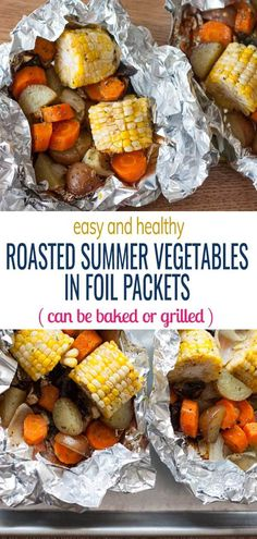 medley of healthy summer vegetables in easy foil packets. Doing so makes cleanup so simple! Can be baked or grilled – perfect for camping or as a quick side dish to your grilled meats. Grill Vegetables In Foil, Roasted Summer Vegetables, Roasted Veggies In Oven, Baked Vegetables, Grilled Veggies, Veggie Foil Packets For The Oven, Grilled Food, Healthy Vegetables, Summer Grilling Recipes