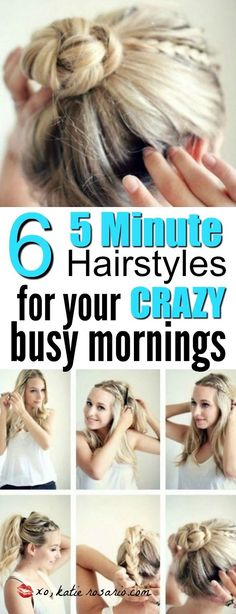 My hair is always the first thing that I drop in the mornings and my makeup a close second. There really is nothing worse than feeling rushed in the morning. When I found these 5 minute hairstyles I just about died! Omg so exciting because now my hair is rocking! I love this tips for everyone whether you are a busy office woman needed fast new hairstyles or maybe you are a busy mom needed 5 minutes to herself. This is a must try!