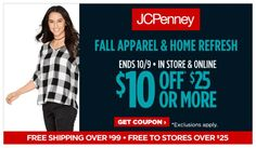 JCPenney Coupon - $10 off $25 Purchase!