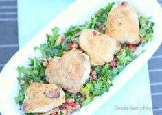 Mediterranean chicken thighs on a bed of arugula, artichoke hearts, chickpeas and roasted peppers and olives.  Soooo good! Girls Garden Party Night!  Such a pretty and simple lunch set up from @elevateeveryday!  Love these meals too!  Organic, fresh and delicious.  Post has a link for 6 free meals from Green Chef.  Dinner will be so quick and easy plus I you don't have to go out to the grocery store.