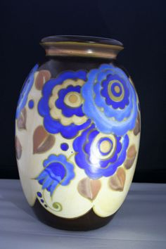 Rare antique ART DECO flowers vase by BOCH Freres KERAMIS signed BFK!