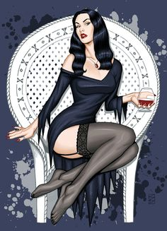 """scottblairart:""""Erin Belle as Morticia Addams"""" Gothic, Victorian Goth, Pulp Fiction, Los Addams, Female Comic Characters, Morticia Addams, Gothabilly, Classic Monsters, Sexy Cartoons"""