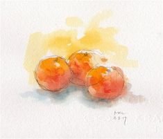 """Daily Paintworks - """"Three Tangerines on the Table"""" - Original Fine Art for Sale - © Marlene Lee"""