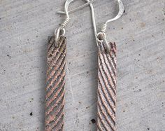 Shibuichi bronze dangly earrings with sterling silver findings Dangly Earrings, Drop Earrings, Handmade Jewelry, Unique Jewelry, Handmade Gifts, Bronze, Sterling Silver, Trending Outfits, Lady