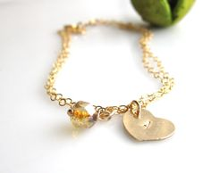 Picasso Czech Beads with 14k Gold Fill Heart Charm by cocowagner, $24.50