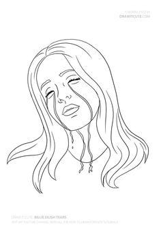 Billie eilish tears by draw it cute free billie eilish tears coloring page billie eilish,billie eilish interview,billie,billie Cool Art Drawings, Pencil Art Drawings, Art Drawings Sketches, Easy Drawings, Billie Eilish, Dibujos Zentangle Art, Arte Van Gogh, Cute Paintings, Cartoon Art