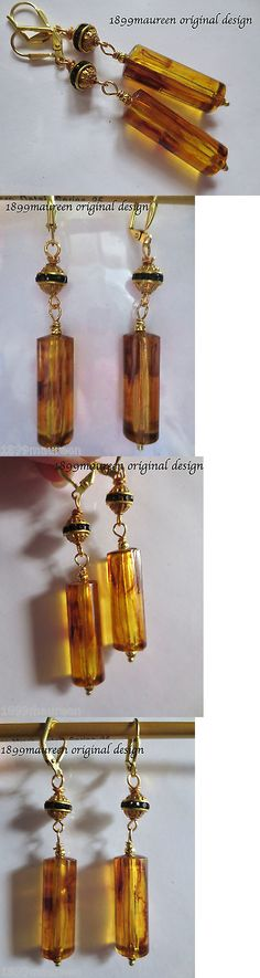 Other Vint Repro Fine Jewelry 48583: Art Deco Art Nouveau Earrings 1920S Geometric Vintage Style Amber Lucite Drops -> BUY IT NOW ONLY: $24.5 on eBay!